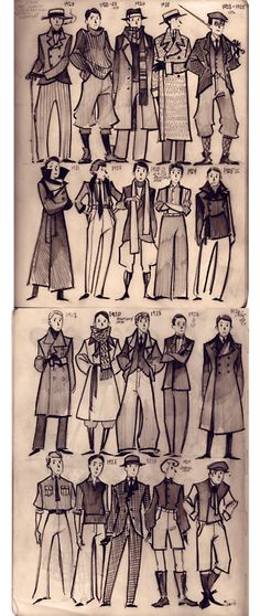 1920's Men's Fashion -- one of my favorite eras for men's style.  The tweed, the hats, the baggy pants, love it all.