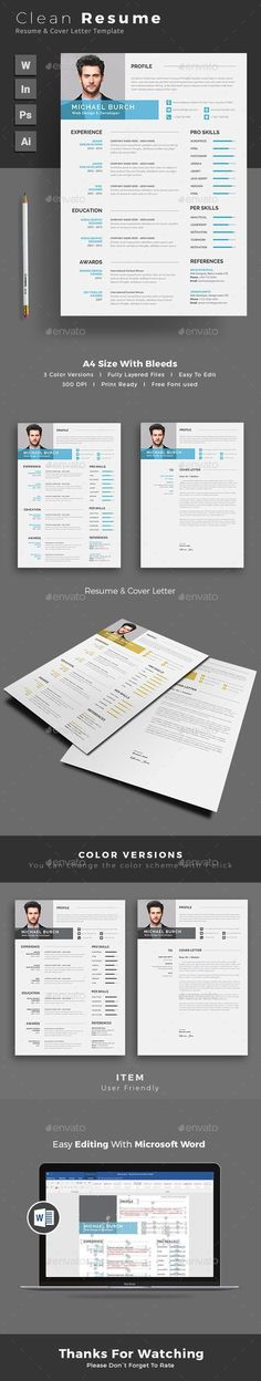 Free Resume Template For Word Photoshop  Illustrator  CvS