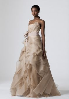 A-Line Strapless Floor Length Tissue Organza Wedding Dress Style Diedre. $289