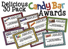 Delicious 30 Pack Candy Award Certificates  This is a fun way to acknowledge all the different personalities in your classroom at the end of the school year. $