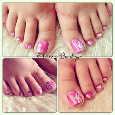 Beautiful pink painted toe nails with one stroke flower nail art