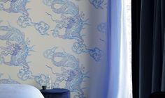 Elitis Foulards Dragon.  Oversized dragon print wallpaper.
