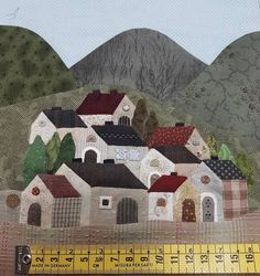 House Quilt Patterns, House Quilt Block, Wool Applique Patterns, Applique Quilts, Quilting Templates, Quilting Designs, Embroidery Designs, Watercolor Quilt, Landscape Art Quilts