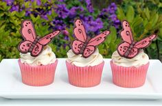 Butterfly Cupcakes Topper - Step by Step Instructions ... I know someone who wants Butterfly things at her next birthday! ;)