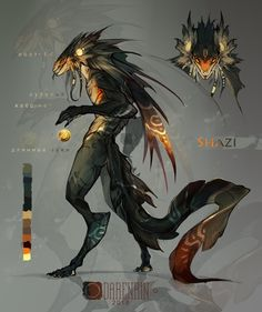 Draw Creatures Shazi by Darenrin on DeviantArt - Alien Concept Art, Creature Concept Art, Creature Design, Monster Concept Art, Monster Art, Monster Design, Alien Creatures, Magical Creatures, Creature Drawings