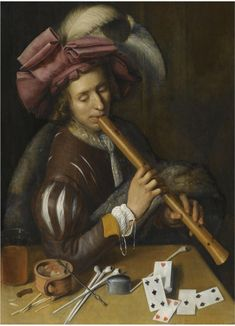 A Young Man Playing The Flute, Before A Table Set With Various Smoking Implements And A Deck Of Cards, South Netherlands School. 17th Century Fashion, Early Music, Queen Of Spades, Baroque Art, Music Painting, Music Theory, Renaissance Art, Historical Costume, Deck Of Cards