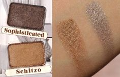 Sophiosticated and Schitzo swatches from The Balm - Nude'tude palette