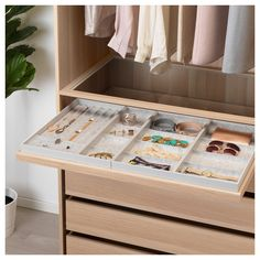 KOMPLEMENT Pull-out tray with divider, white stained oak effect, transparent, cm - IKEA Pax System, Drawer Fronts, Ikea Komplement, Armoire, Ikea Family, Plastic Drawers, Master Bedroom Closet, White Stain, Ikea Inspiration