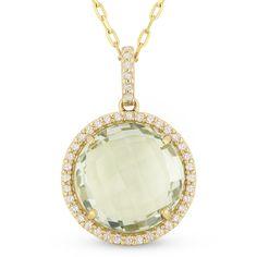 4.71ct Checkerboard Green Amethyst & Round Cut Diamond Halo Pendant & Chain Necklace in 14k Yellow Gold - AlfredAndVincent.com
