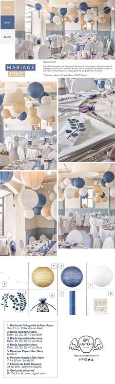 Chic wedding decor with SkyLantern: Dare the trio of white, dark blue and beige … - Home Page Blue Wedding Decorations, Sky Lanterns, Chic Wedding, Wedding White, Candy Table, Reception Rooms, Beige, Bleu Marine, Dark Blue