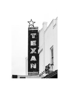Texan Fine Art Photography Black and White Texas by KClarkWest The historic Texan Theater in Junction TX
