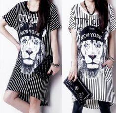 2014 летние новых европейских и американских большие лев полосы печатных  короткими рукавами строки платье пакет хип дна детей - Taobao 238ba4e1db21