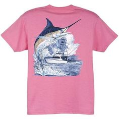 Guy Harvey Marlin Boat Youth Tee Shirt in Dark Pink, Lime, Denim Blue,... ($13) ❤ liked on Polyvore featuring shirts, t-shirts, tops, guy harvey and pink
