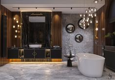 Gentle and casual lighting is created with Bocci and Luxxu pendant lights. Bathroom Design Luxury, Bathroom Design Small, Bathroom Designs, Design Kitchen, Timeless Bathroom, Modern Bathroom, Bad Inspiration, Bathroom Inspiration, Toilet Design