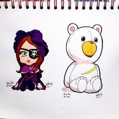 #Mimsy  #Roro from #Shirobako  #lolitadoll #doll #dress #girl #pirate #anime #manga#teddybear #bear #plushtoy #plush  #fanart #illustration #draw #sketch #drawing #art #artistsoninstagram #dailysketch  #traditional #traditionalart #markers #ink  #cute #adorable #chibi #kawaii