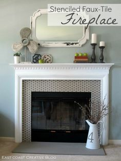 How beautiful is this idea?!?! {DIY Stenciled [Faux-Tile] Fireplace!}