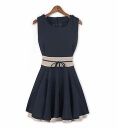Sleevless A line dress with a casual belt $60