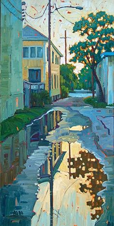 """""""Reflections In The Alley""""-Rene' Wiley-giclee's in any 2x1 shape up to 80""""x40""""x1.5"""" by René Wiley Gallery Unenhanced Giclée ~ x"""
