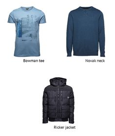 Layering all shades of BLUE!  #blue #shades #tee #jacket #knit #winter #cold #fashion #style #trend #outfit #men #boy #black