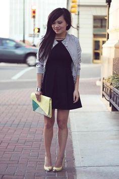 Beautiful Asian in a beautiful black dress