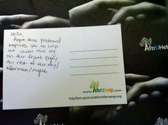Hello,    Hope this postcard inspires you to help out the org. on the front. Enjoy the rest of the day/afternoon/night.