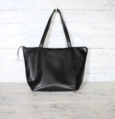 High Quality Italian Black Leather Tote bag. Super soft and lightweight.