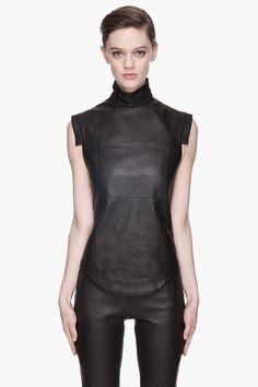 Gareth Pugh Black Buffed Leather Blouse in Black