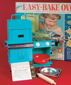 60's Easy-Bake Oven..mine was this color. Fantastic cakes baked by a light bulb!