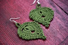 These green leaf inspired earrings give you a feminim and smart look. It has a fine material (100% cotton) and a nature inspired pattern. It has made in smoke-free home.  Every item has made by me, with love!  Custom orders are available. Please send me a message with your order!  If you