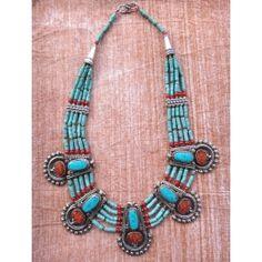 Collier Nepalais Tibétain Turquoise Corail Gypsy Boho