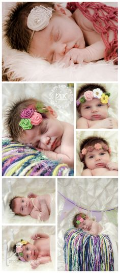 Newborn photography - fringe blanket, hairpieces, rosettes, cocoon, banner photo props