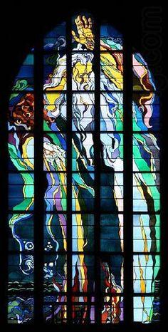 "Stained glass window ""God the Creator"" made by Stanisław Wyspiański in church of St. Francis in Kraków (Poland). Stained Glass Church, Modern Stained Glass, Stained Glass Art, Stained Glass Windows, Mosaic Glass, Pays Francophone, L'art Du Vitrail, Wine Bottle Wall, Church Windows"
