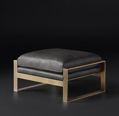 RH Modern Alfieri Leather Ottoman | Shared by Fireman's Finds ( Store Dressing Room )