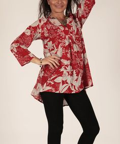 Another great find on #zulily! Red & White Floral Tunic by Aller Simplement #zulilyfinds