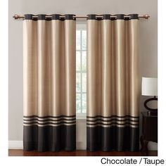Vcny Barclay Faux Silk Grommet Top 84-inch Panel (55x84 - Chocolate/Taupe), Brown, Size 55 x 84