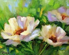 In the Stars White Poppies by Texas Flower Artist Nancy Medina, painting by artist Nancy Medina