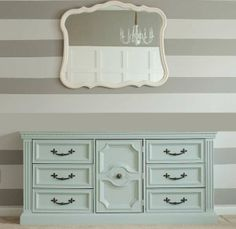 our vision with a more dunked up dresser! mint-painted dresser-buffet with great painted mirror against wonderful striped wall! Paint Furniture, Furniture Projects, Furniture Makeover, Home Projects, Turquoise Dresser, Mint Dresser, Mint Paint, Black Buffet, Painted Buffet