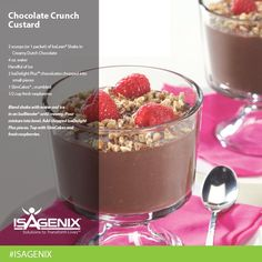 Ready to share some treats with the family for your monster bash? Whey not try the Chocolate Custard Crunch? Chocolate Custard, Chocolate Crunch, Chocolate Recipes, Healthy Chocolate, Clean Eating Desserts, Healthy Desserts, Healthy Eating, Isagenix Snacks, Nutritional Cleansing