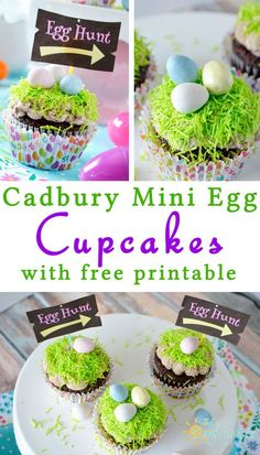 cadbury mini egg cupcakes with a free printable