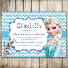Disney FROZEN Chevron Birthday Invitation, Frozen Birthday, FROZEN Invitation,1st birthday, 2nd birthday, 3rd, 4th, 5th, 6th, 7th, PRINTABLE