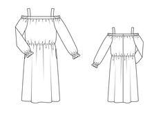 Платье с вырезом кармен - выкройка № 131 из журнала 4/2015 Burda – выкройки платьев на Burdastyle.ru
