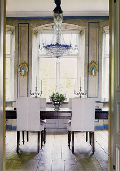 Blue and white chandelier!!!!  thisivyhouse:  1770s Swedish dining room....The room is stunning on its own. Good idea to keep the furniture simple along with that extravagant chandelier. I don't know if I like the modern shape of the chairs, and I'm not sure about the shade of blue, but it's such a beautiful room it hardly matters.