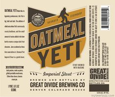 Great Divide - Oatmeal Yeti Imperial Stout. 9.5%. Brewed with rolled oats and a small amount of raisins.