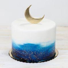 Moon and stars baby shower cake whippedbakeshop fishtown customcake moonandstars paintedcake mooncake babyshower Cute Cakes, Pretty Cakes, Beautiful Cakes, Baby Shower Cakes, Baby Cakes, Cake For Baby, Bolo Tumblr, Halloween Torte, Galaxy Cake