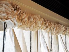 If you're a little short on fabric, try making a paper garland to use as a window topper. Paula from Counting Your Blessings strung pages from vintage books onto ribbon, bunching them tightly to create a fluffy, unique and inexpensive valance. Drop Cloth Curtains, Home Curtains, Burlap Curtains, Bedroom Windows, Blinds For Windows, Window Blinds, Window Coverings, Window Treatments, Bedroom Window Dressing