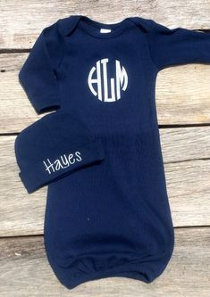 Navy Blue Boys Coming Home Outfit, Monogrammed Boys Gown Set, Newborn Baby Boy Gown and Hat Set by EzaleeAndMaddie on Etsy https://www.etsy.com/listing/231567678/navy-blue-boys-coming-home-outfit