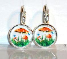 Ohrringe Fliegenpilz Ohrschmuck Damen Hänger Modeschmuck Glas Cabochon Neuware