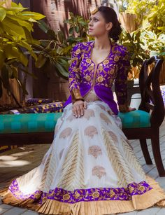Sangeet Lehengas - Bridal Purple Lehenga | WedMeGood Purple and White Banarasi Lehenga | Now That's A Lehenga We Love! Check Out Many More Purple Lehengas on wedmegood.com #wedmegood #purplelehenga