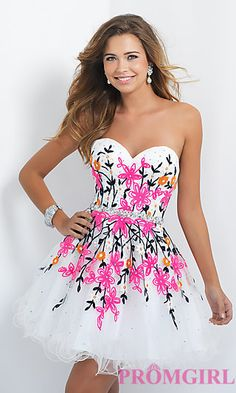 Short Neon Floral Embroidered Homecoming Dress by Blush at PromGirl.com