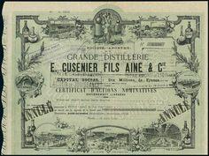 Grande Distillerie E. Cusenier Fils Ainé & Cie. Certificat d'Action F500. Paris, 28.3.1949
